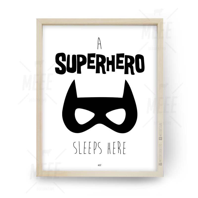 Sleep here, superhéroe, super héroe, Cuadros decorativos, cuadros modernos, frases enmarcadas en Meee Deco