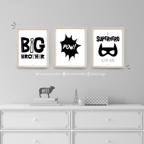 Superheroes, Pow, Big Brother, Cuadros decorativos, cuadros modernos, frases enmarcadas en Meee Deco