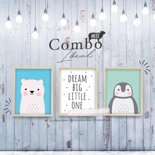 Combo Trio de cuadritos Animalitos con frase - Meee Decorativo