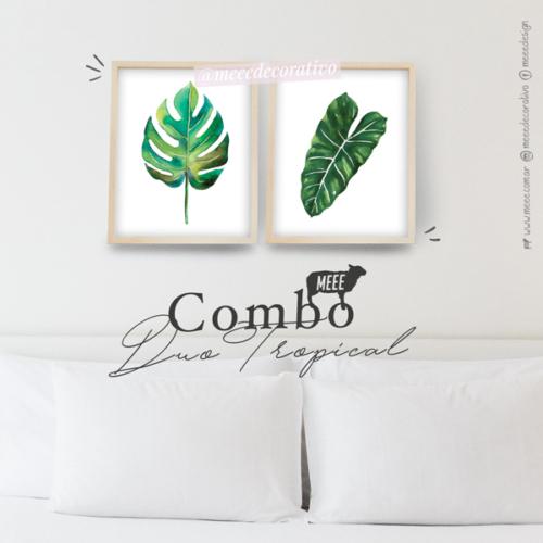 Duo de cuadros de hojas tropicales Meee Decorativo