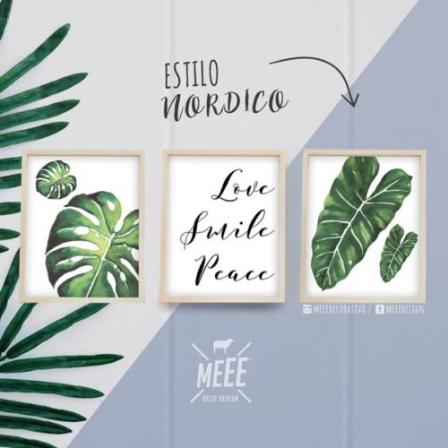 Combo de cuadros de hojas con frase Meee Decorativo