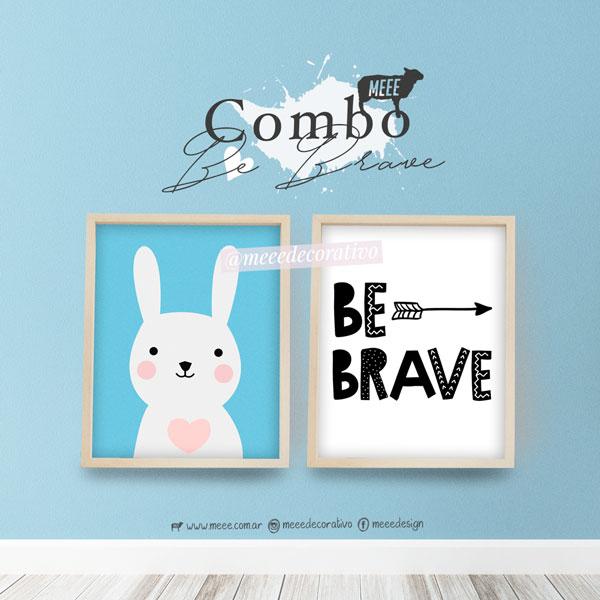 combo de cuadros con laminas Be Brave y conejo infantil Meee